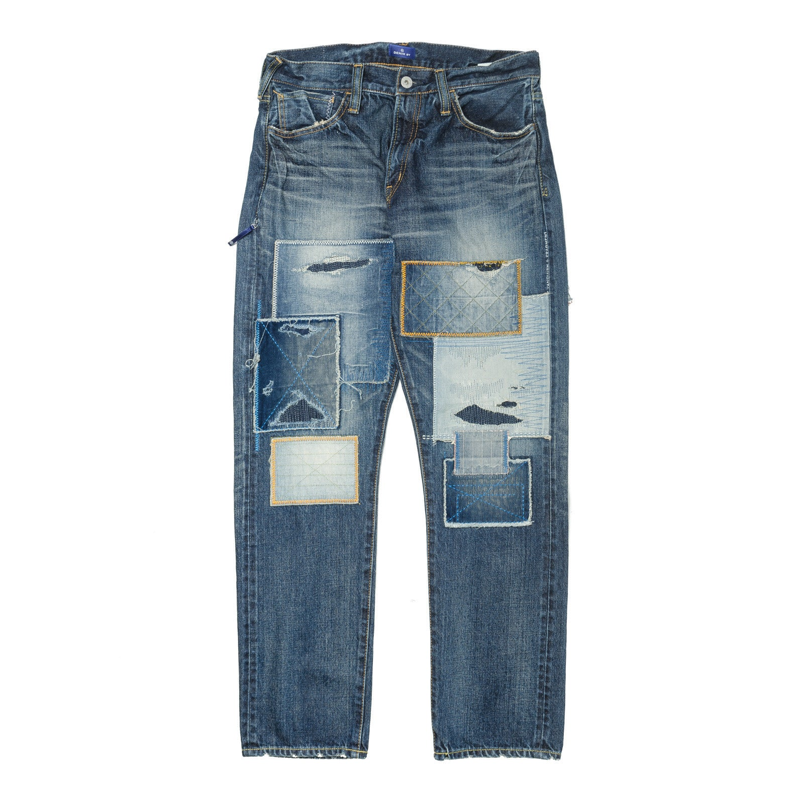 Patchwork Wide Straight Denim Indigo