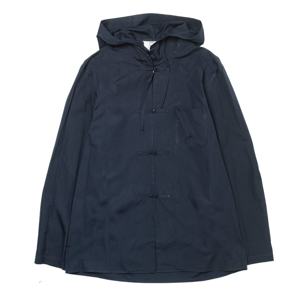 Hooded Chinese Button Broad Jacket Navy