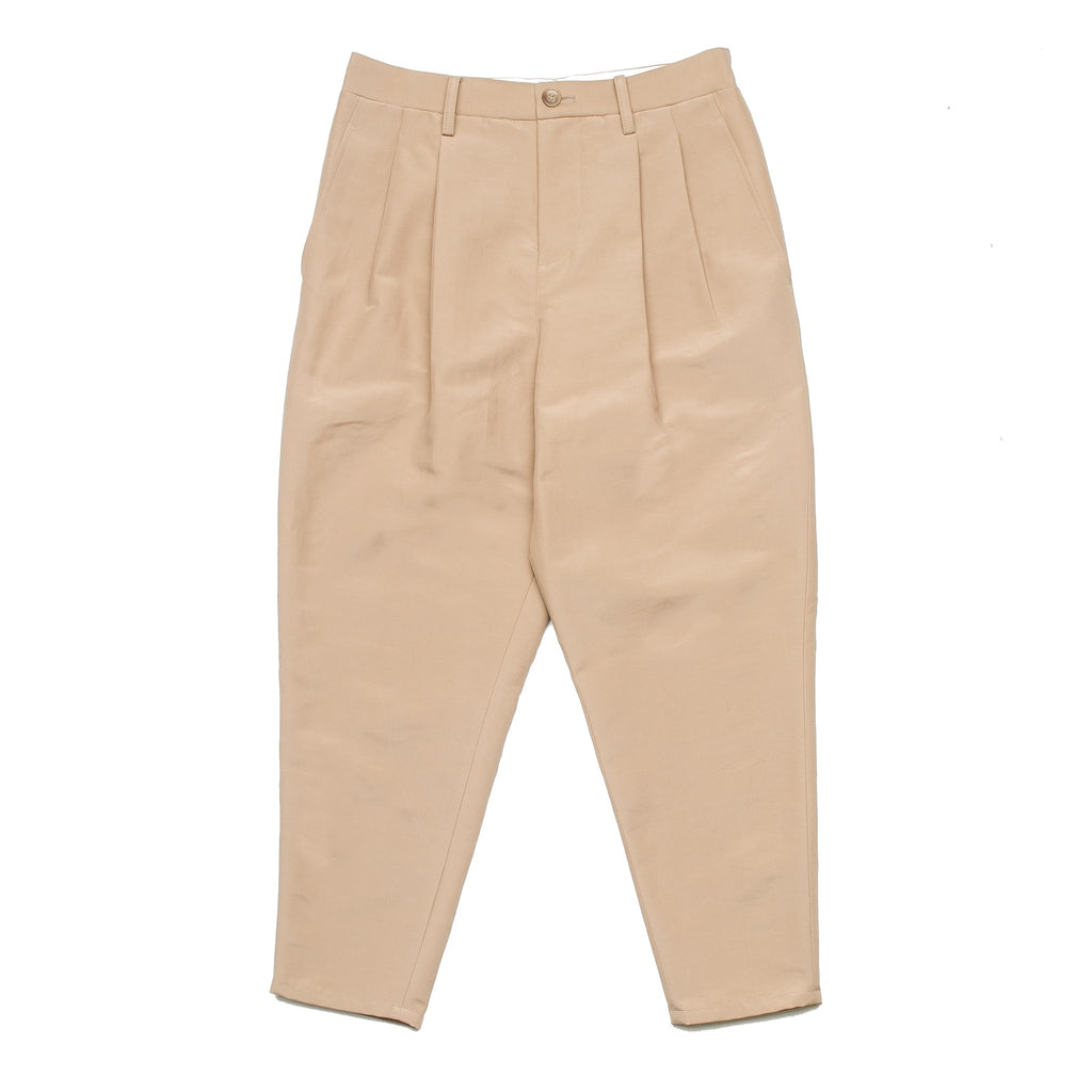 2 Tuck Tapered Cropped Pants Camel