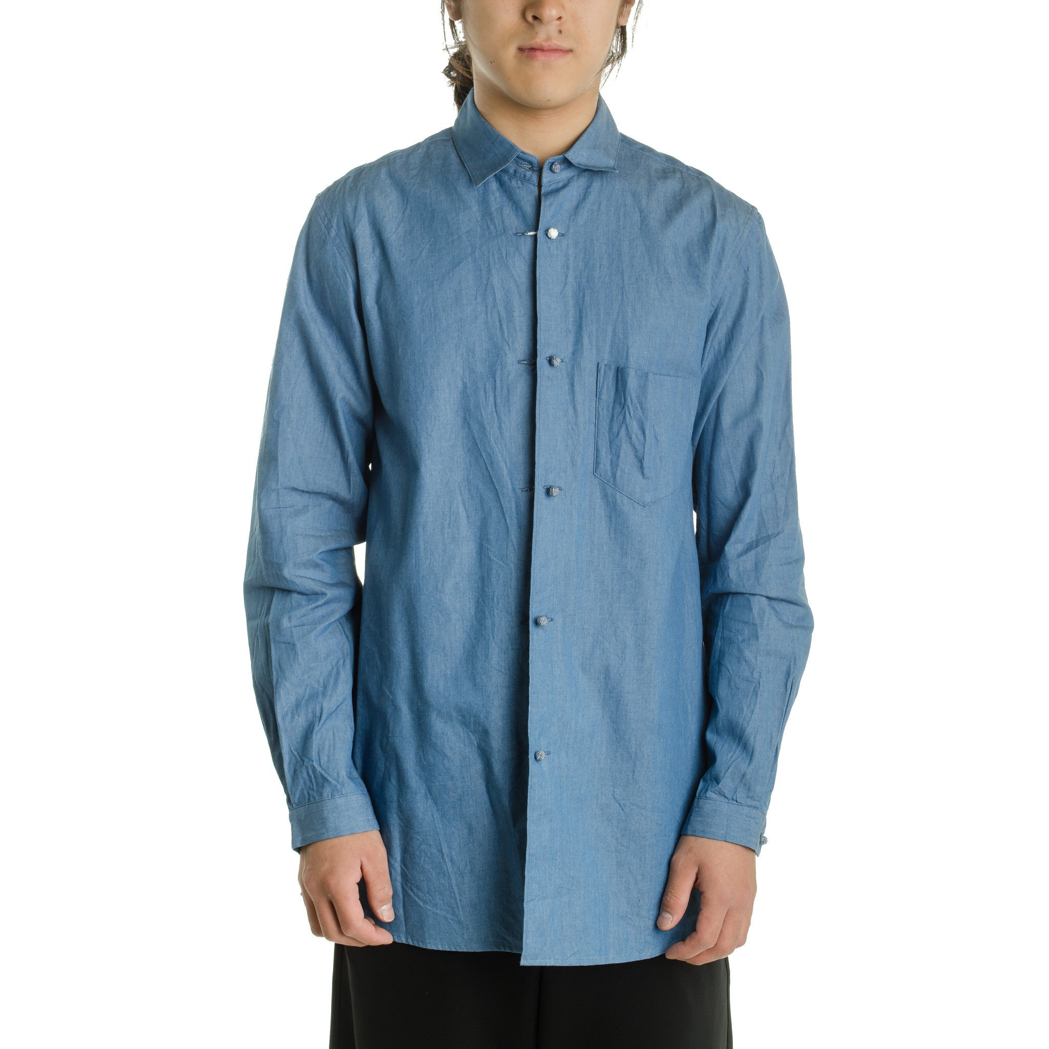 Braid Button Shirt Blue