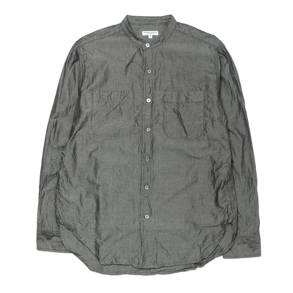 Banded Collar Shirt Cotton Iridescent Light Grey