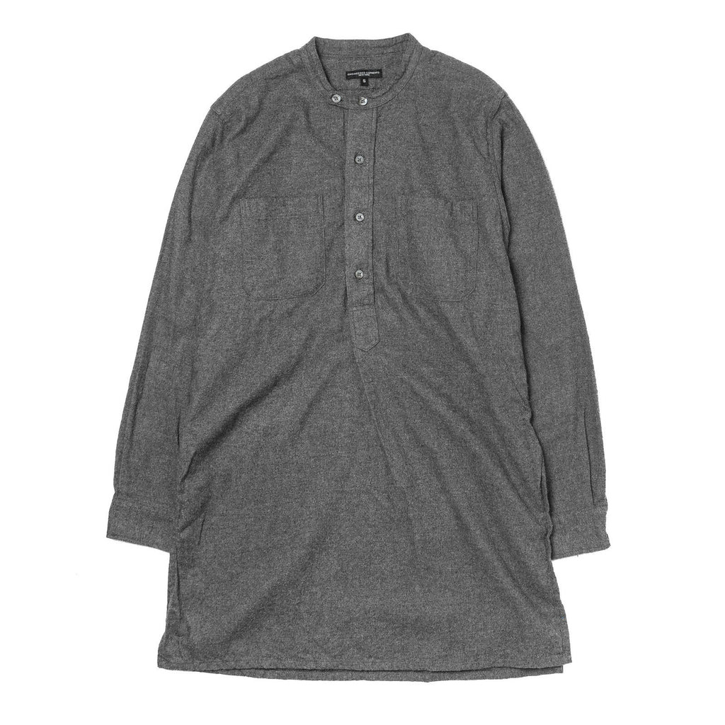 Banded Collar Long Shirt Grey Cotton Flannel