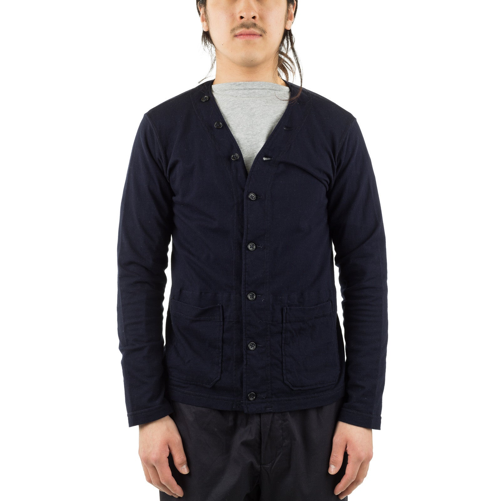 Knit Cardigan Solid Jersey Dark Navy