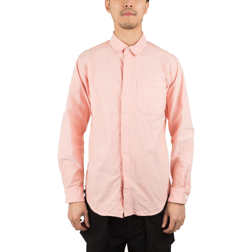 Short Collar Shirt S8A02191 Peach Solid Cotton Oxford