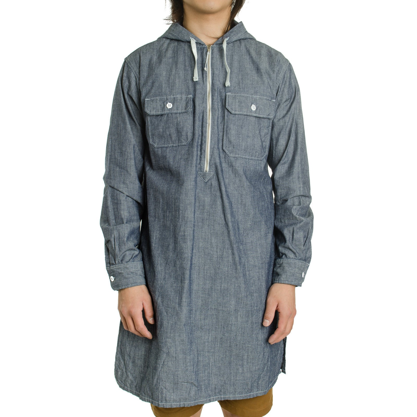Long Bush Shirt Blue Cone Chambray