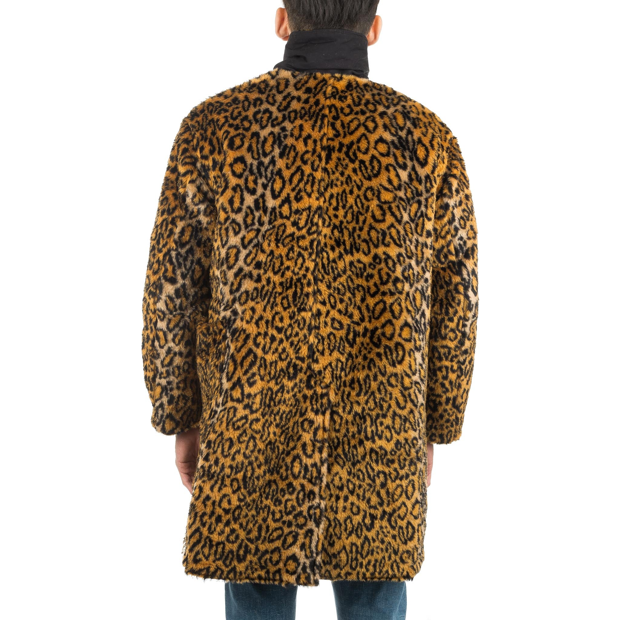 Shawl Collar Reversible Coat F8D1483D Black Cheetah Fur