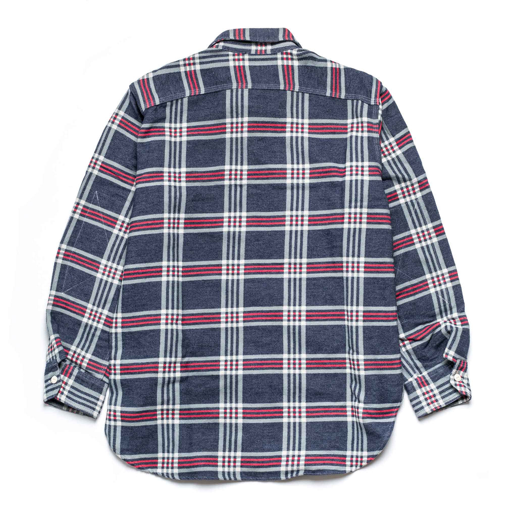 EG Work Shirt 20F1A007 Navy Big Plaid