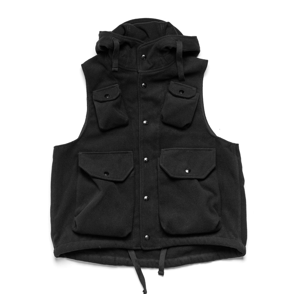 EG Field Vest 20F1C004 Black Poly Faux Melton