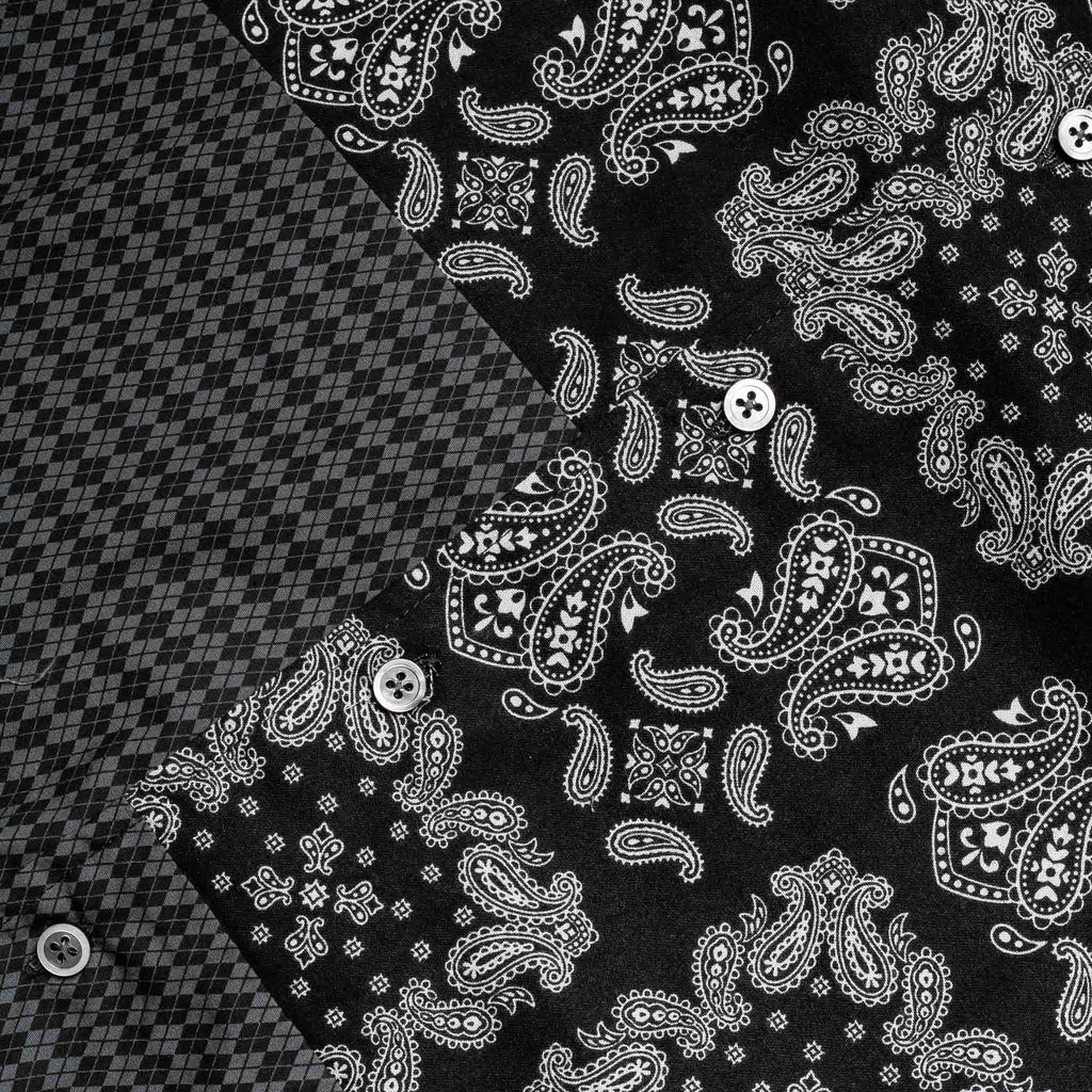 Spread Collar Shirt Paisley 20F1A013 Black