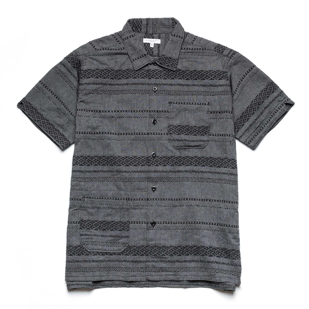 Camp Shirt 21S1A004 Grey Stripe Jacquard