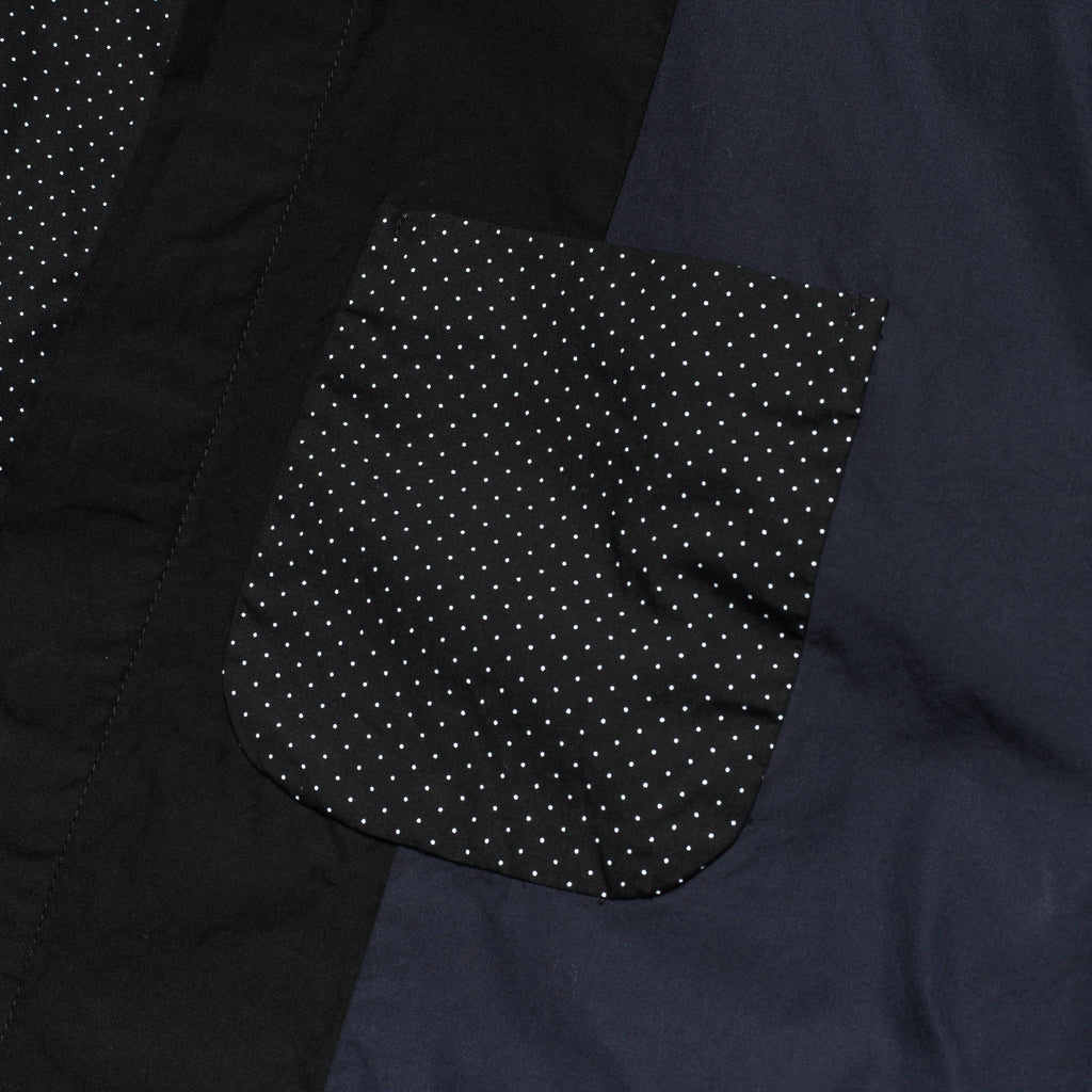 Combo Collar Shirt 21S1A017 Black Cotton Micro Polka Dot