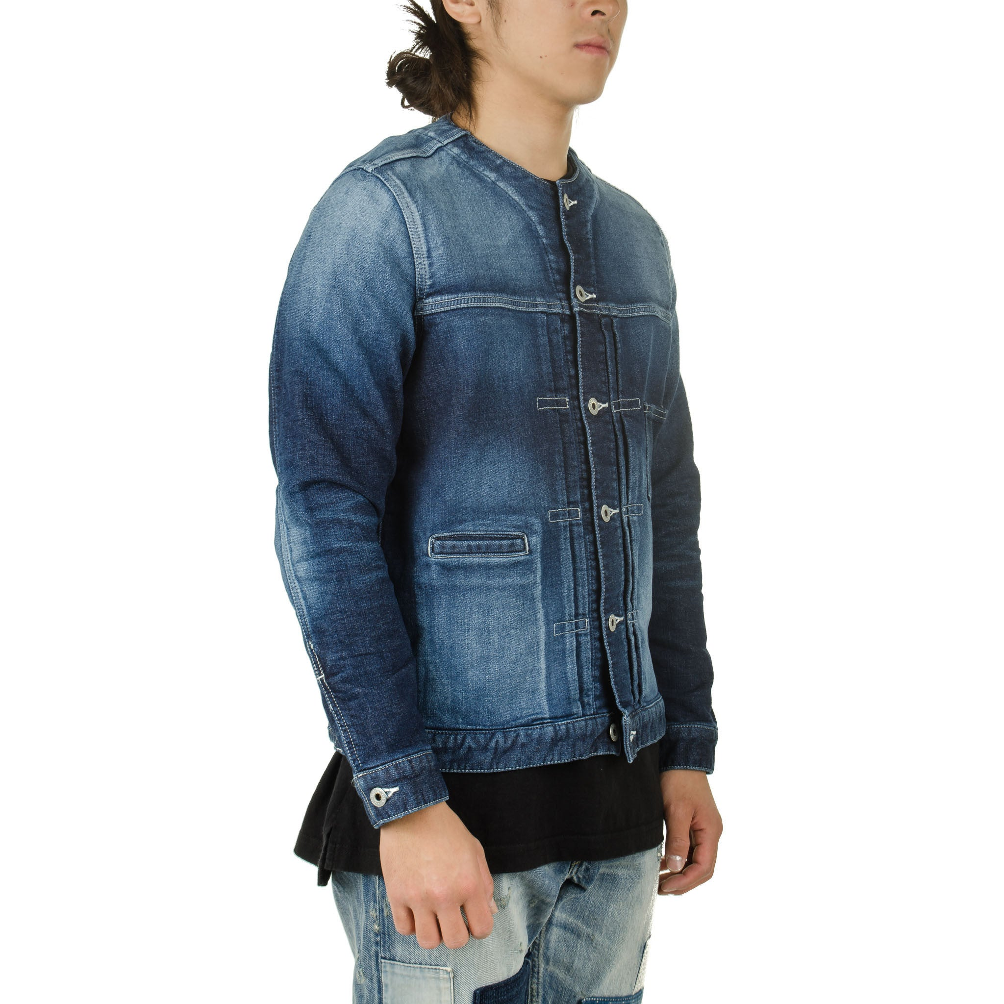 Collarless Denim Jacket 2YR Wash