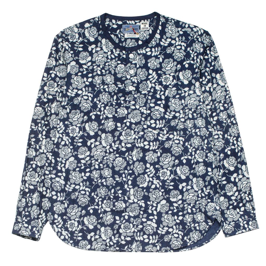 Blue Rose Printed Pullover White/Indigo