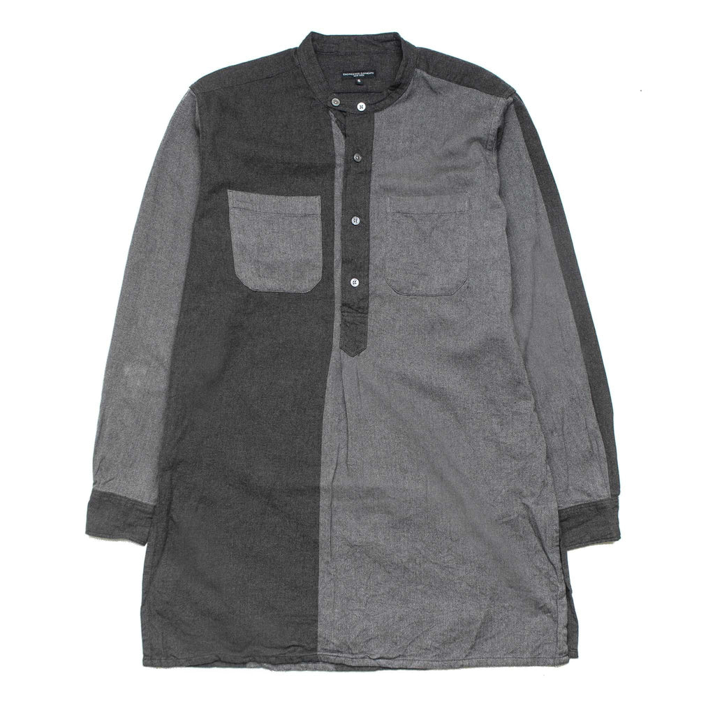 Banded Collar Long Shirt F7A0623 Grey Herringbone Stripe