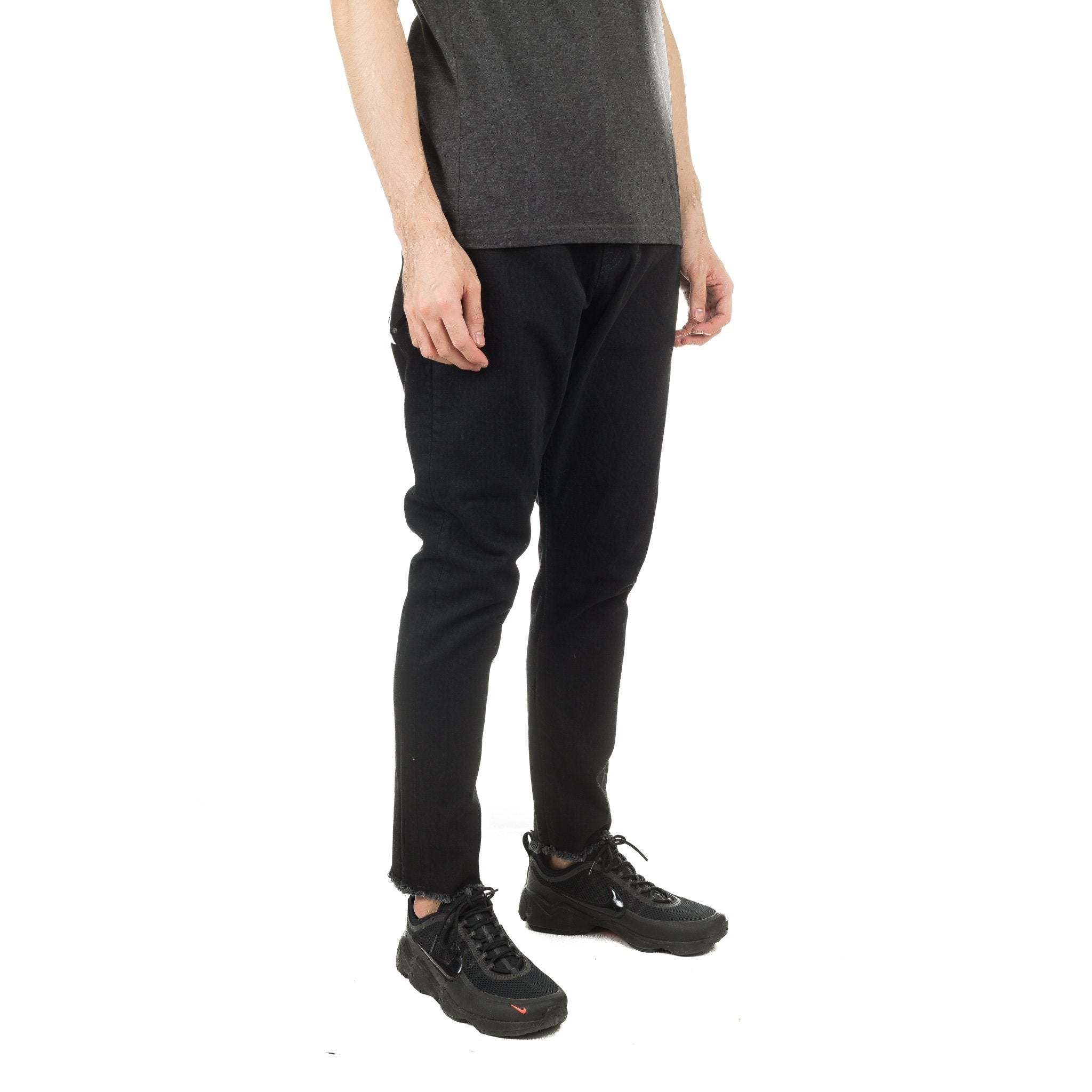 Cutoff Tapered Denim Pant Black
