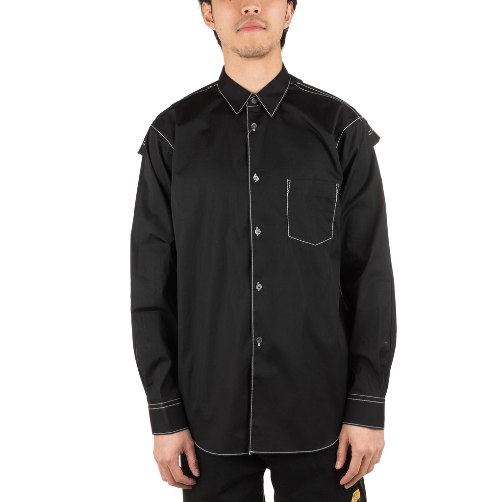Contrast Stitching Shirt S26042 Black