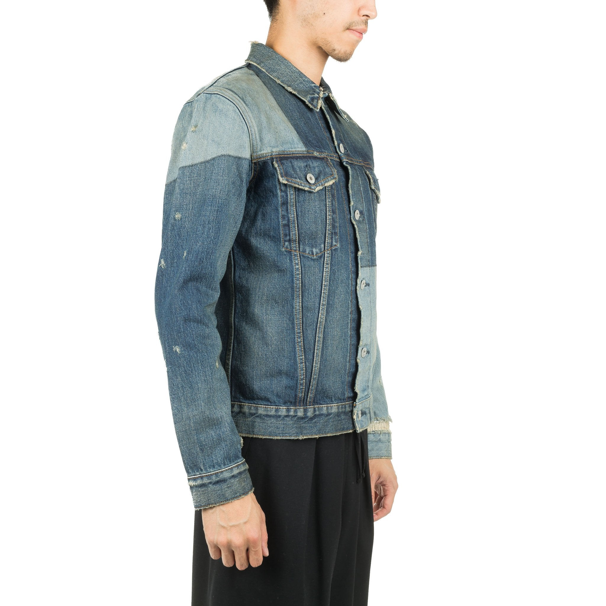 Patchwork Denim Jacket Washed Indigo