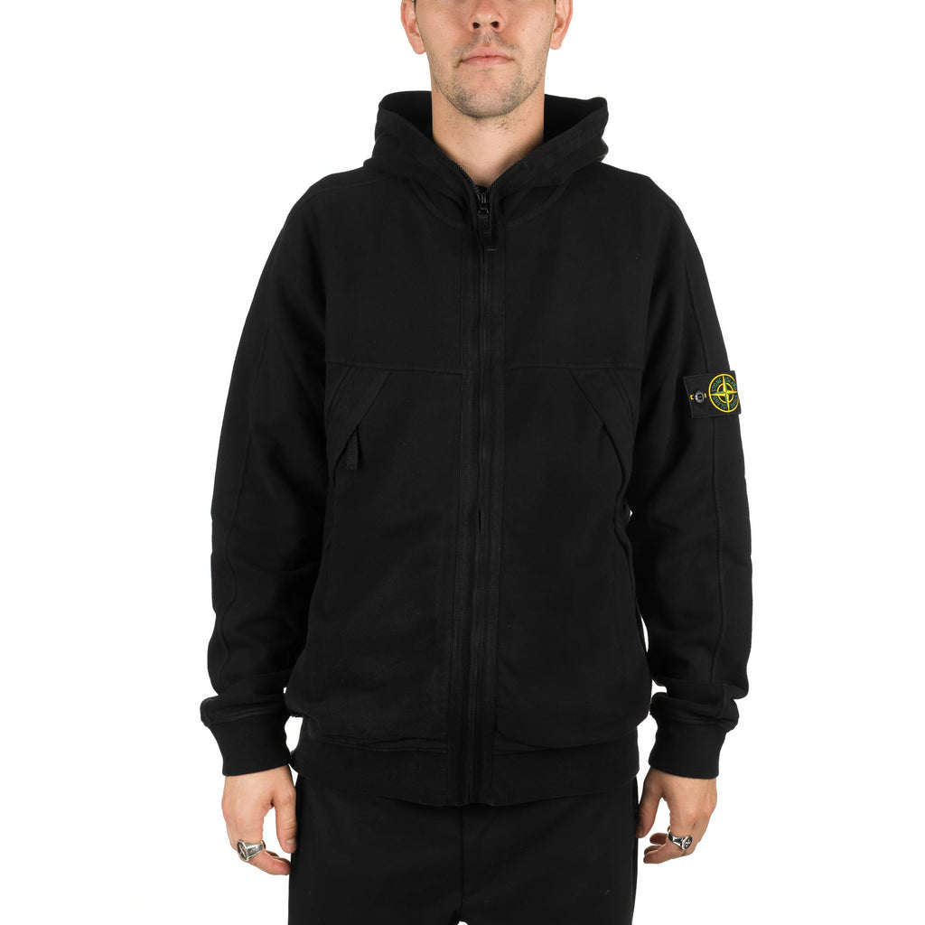 Garment Dyed Zip Pocket Hoodie 711561920 Black