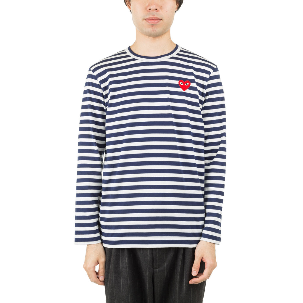 HEART LOGO STRIPED AZ-T010-051-1 L/S Tee White/Navy