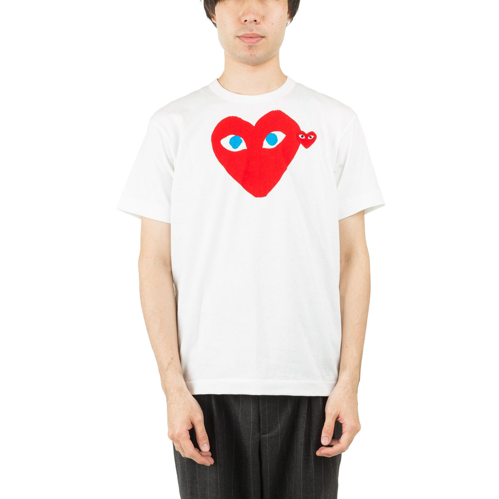 DOUBLE HEART RED BLUE EYE AZ-T086-051-1 Tee White