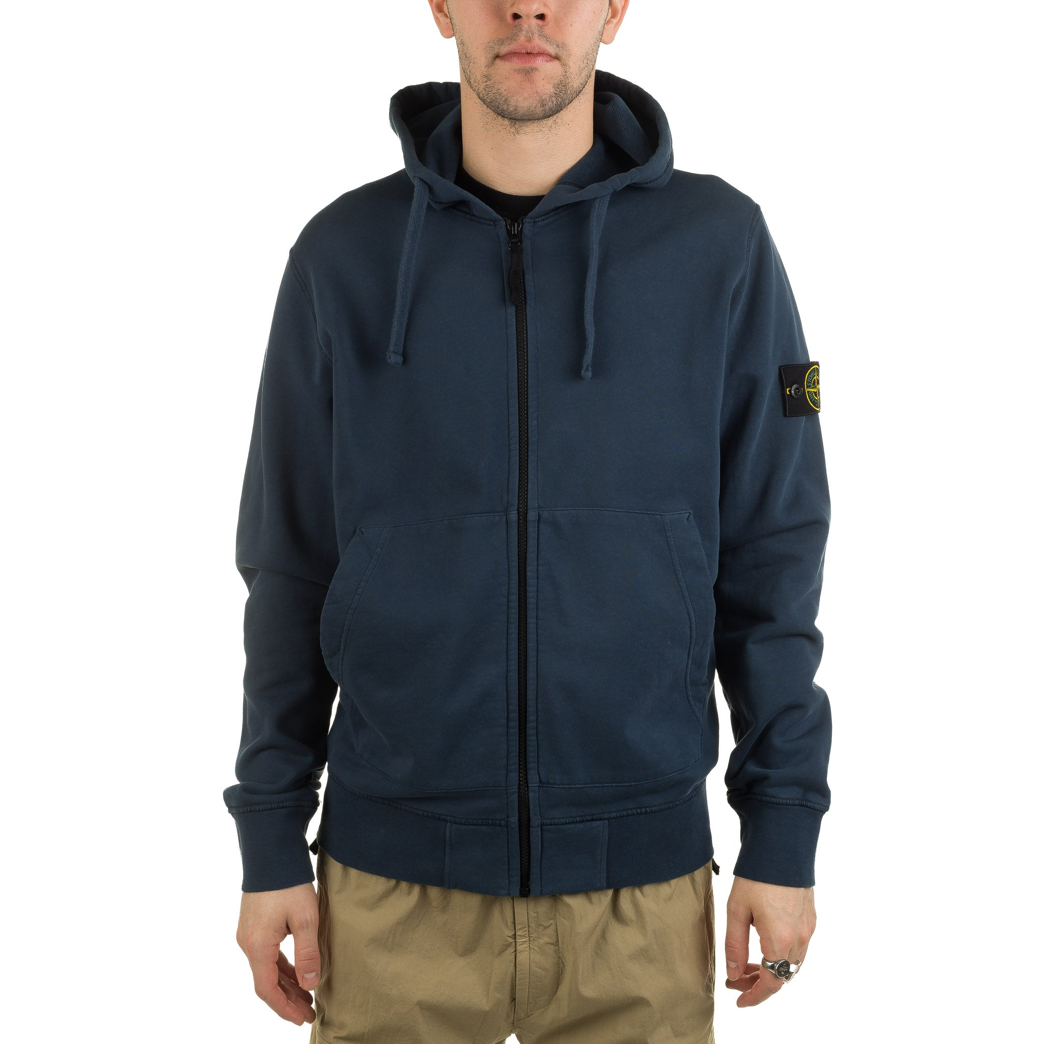 Garment Dyed Full Zip Hoodie 721564251 Blue Marine