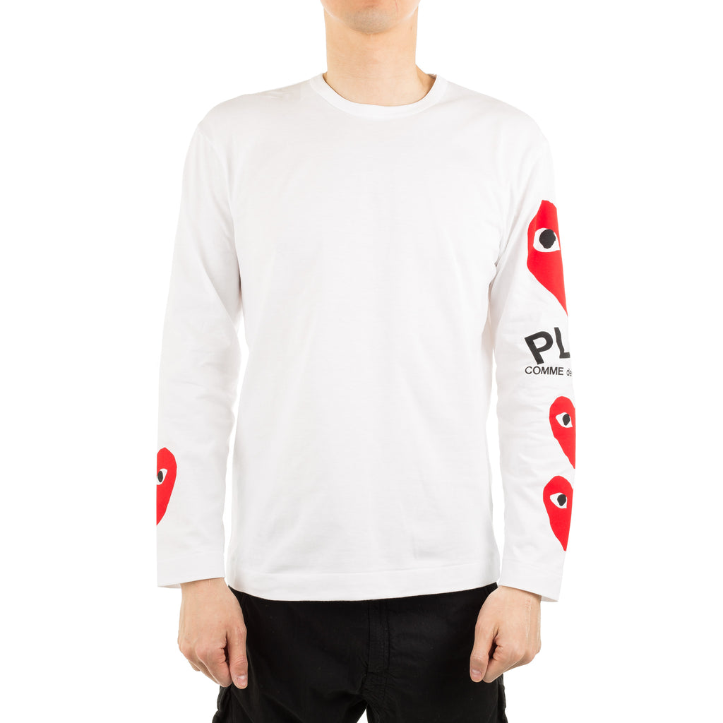 Four Hearts Sleeve Print L/S Tee AZ-T260-051-1 White