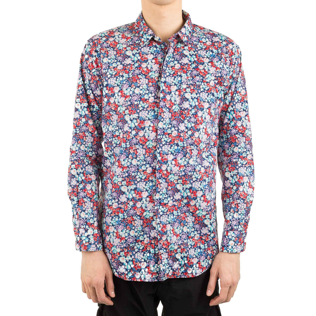 Short Collar Shirt Floral Navy