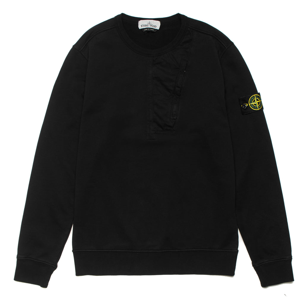 Garment Dyed Chest Pocket Crewneck Sweater 721563151 Black