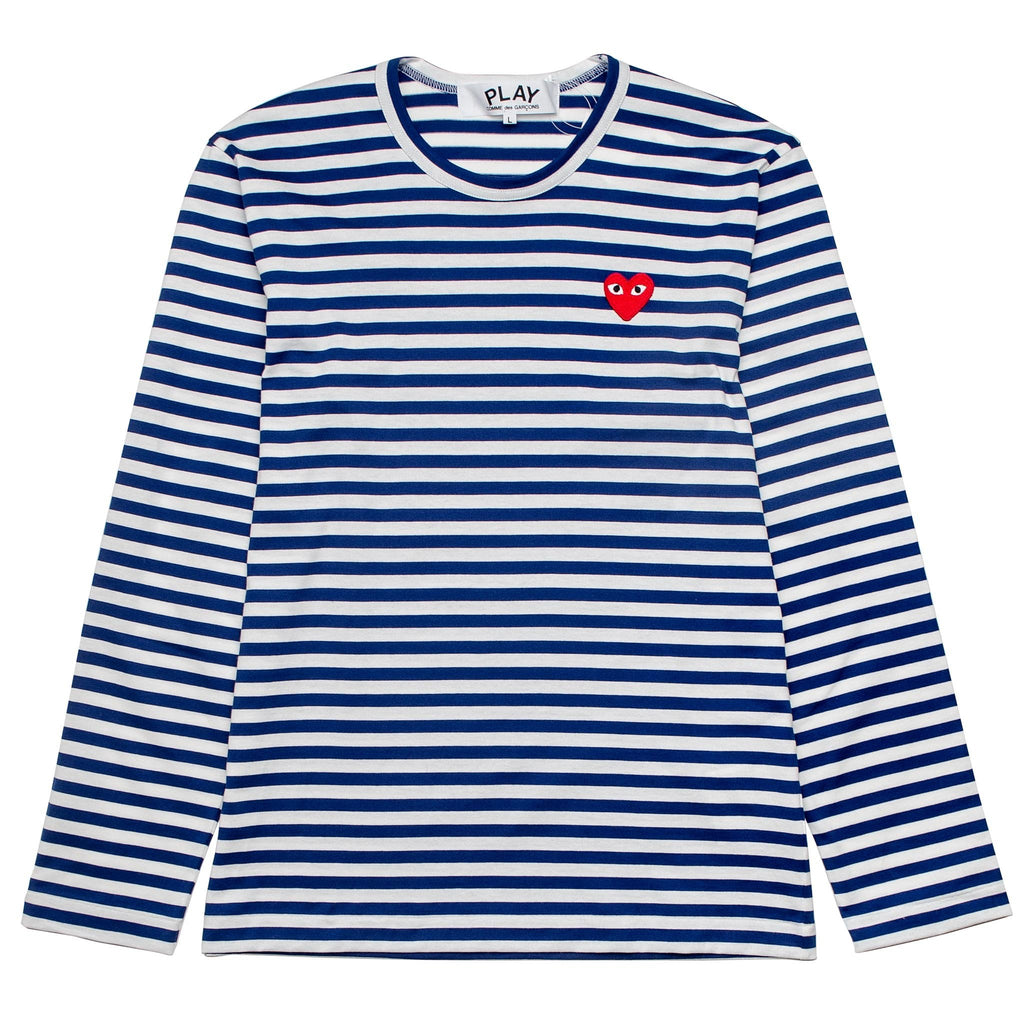 HEART LOGO STRIPED AZ-T164-051-2 L/S Tee Blue/White