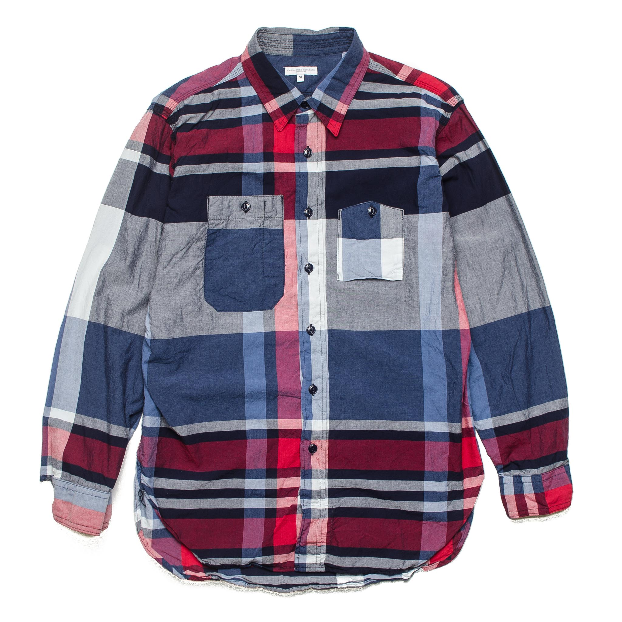 Work Shirt ES001 Big Madras Plaid Navy/Red