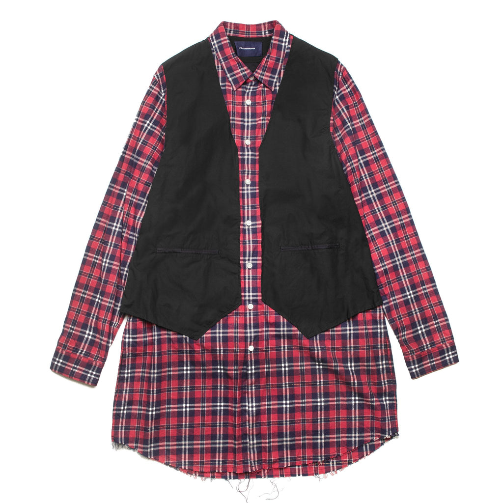 Long Check Shirt Red JUV4405
