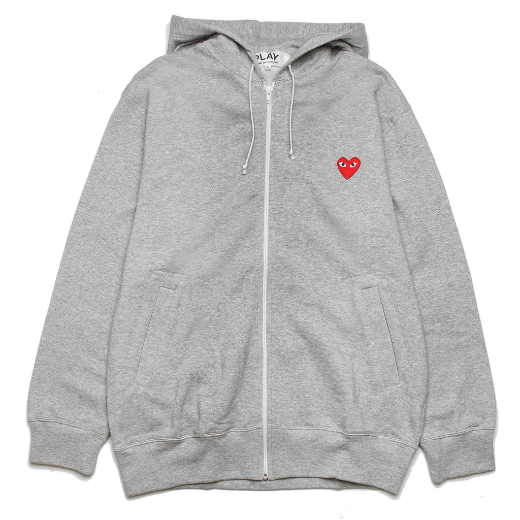 Multi Heart Back Print Zip Hoodie AZ-T250-051-1 Grey