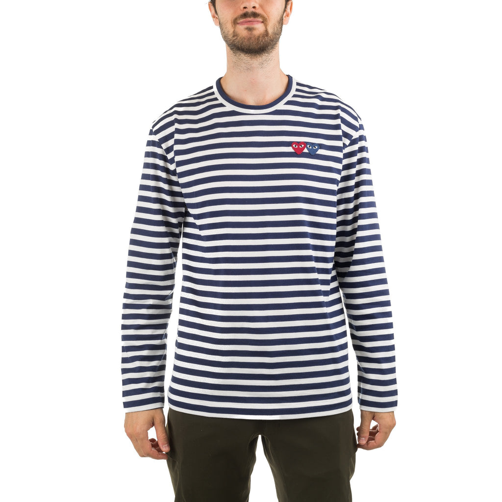 Double Heart Stripe LS Tee AZ-T228-051-1 Navy
