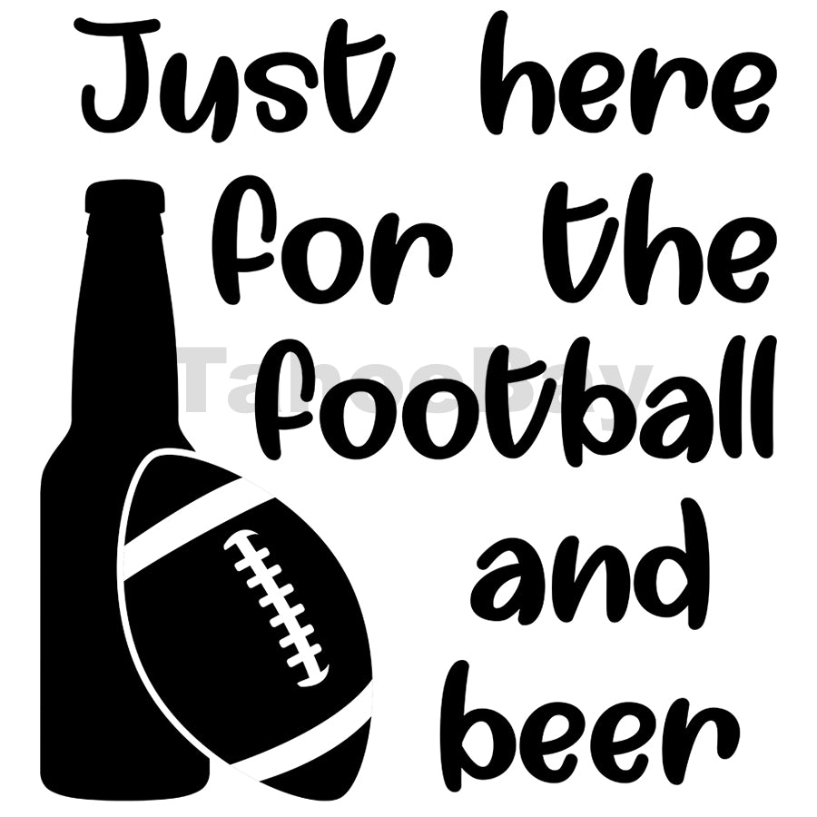 Just Here For The Football And Beer Can Cooler Graphic Design Files | SVG PNG
