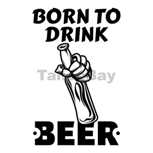 Born To Drink Beer Can Cooler Graphic Design Files | SVG PNG