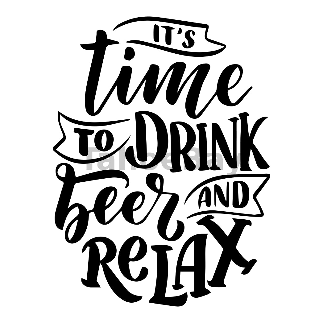 It's Time To Drink Beer And Relax Can Cooler Graphic Design Files | SVG PNG