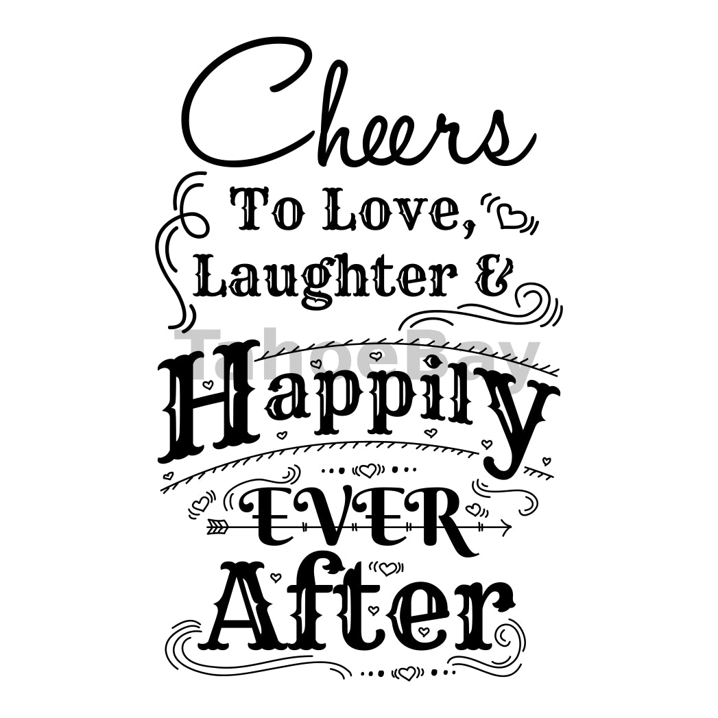Cheers To Happily Ever After Can Cooler Graphic Design Files | SVG PNG