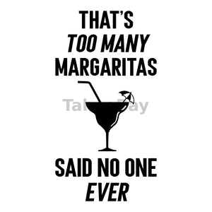 Too Many Margaritas Can Cooler Graphic Design Files | SVG PNG