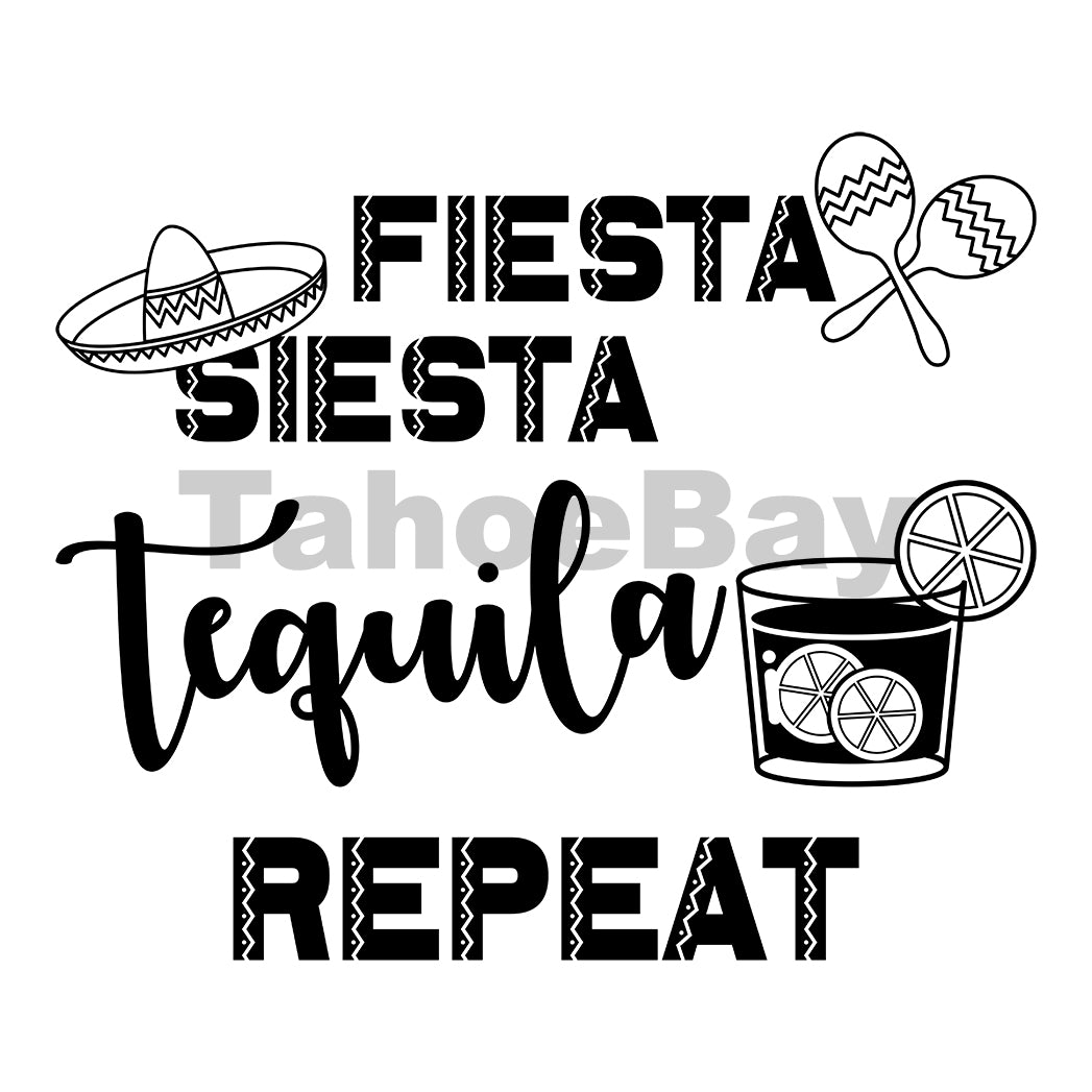 Fiesta Siesta Tequila Repeat Can Cooler Graphic Design Files | SVG PNG