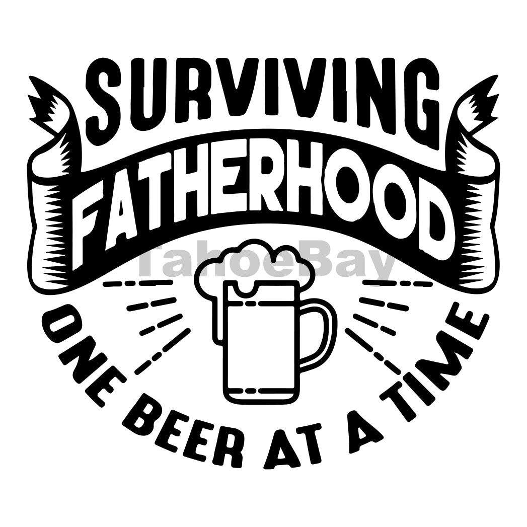 Surviving Fatherhood One Beer At A Time Can Cooler Graphic Design Files | SVG PNG