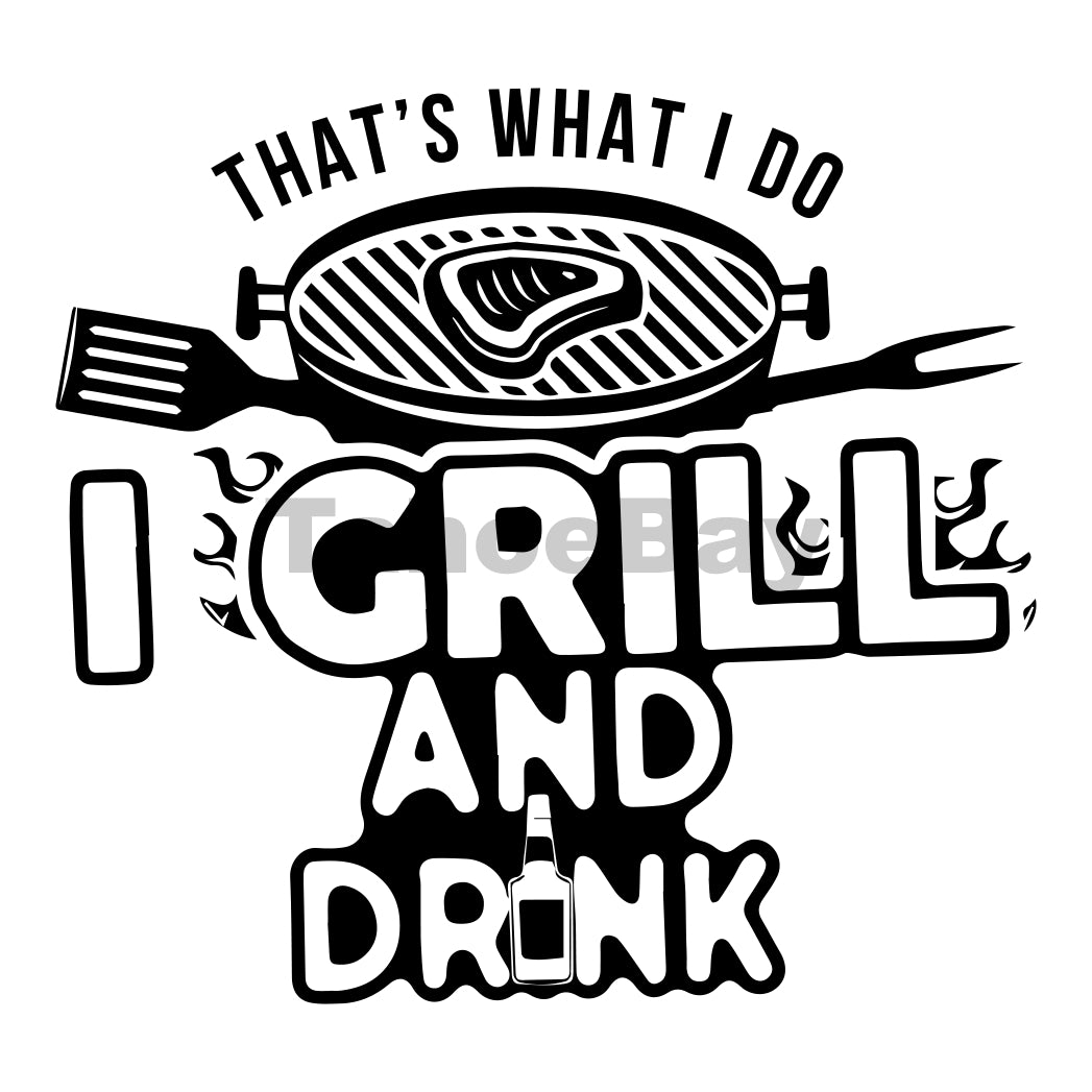I Grill And Drink Can Cooler Graphic Design Files | SVG PNG