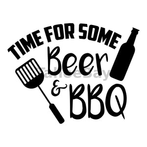 Time For Some Beer and BBQ Can Cooler Graphic Design Files | SVG PNG