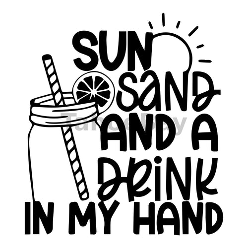 Sun Sand And A Drink In My Hand Can Cooler Graphic Design Files | SVG PNG