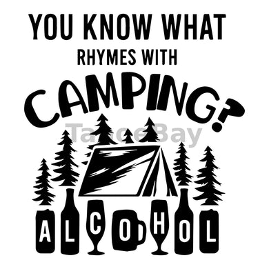 You Know What Rhymes With Camping-Alcohol Can Cooler Graphic Design Files | SVG PNG