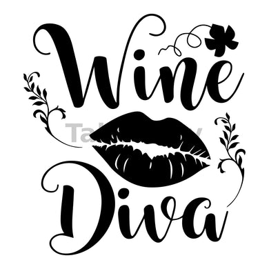 Wine Diva Can Cooler Graphic Design Files | SVG PNG