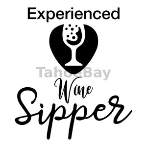 Experienced Wine Sipper Can Cooler Graphic Design Files | SVG PNG