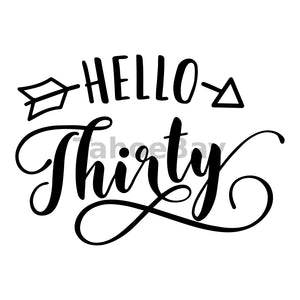 Hello Thirty Can Cooler Graphic Design Files | SVG PNG