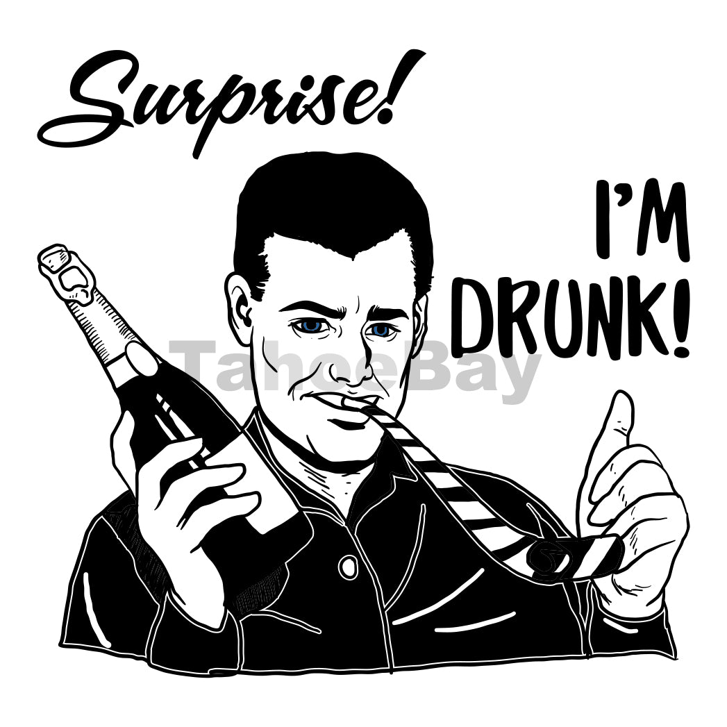 Surprise I'm Drunk Can Cooler Graphic Design Files | SVG PNG