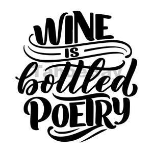 Wine Is Bottled Poetry Can Cooler Graphic Design Files | SVG PNG