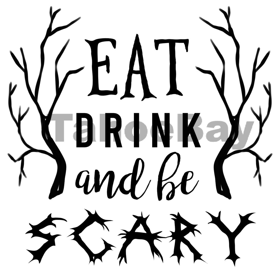 Eat Drink And Be Scary Can Cooler Graphic Design Files | SVG PNG